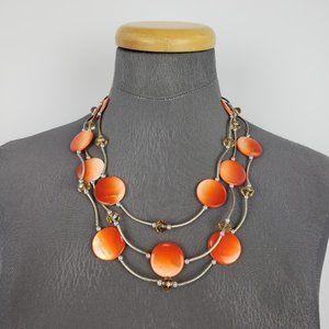 Orange & Silver Beaded Necklace